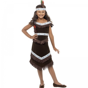 Indian Girl fancy dress Costume, Brown, Fringed Dress