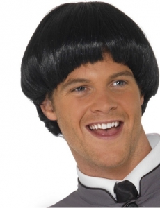 Swinging 1960s 60s Bowl Cut Black Fancy Dress Wig