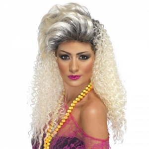 1980's Crimpted Bottle Blonde Fancy Dress Wig
