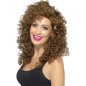 Ladies 1980's Boogie Babe Curly Brown Fancy Dress Wig