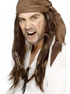Mens Pirate Caribbean Wig & Head Scarf Brown