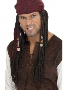 Pirate Jack Wig and Burgundy head scarf