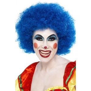 Blue Afro Clown Wig Fancy Dress Costume Accessory