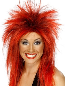 1980's Red Mullet Pop Star Punk Wig