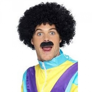 1980's Fancy Dress Scouser Set Afro Wig And Tash