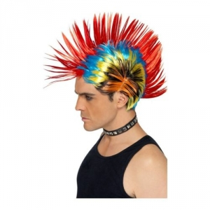 80's Multi-Coloured Street Punk Mohawk/ Mohican Wig Fancy Dress Party Accessory