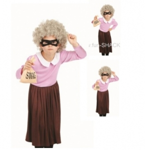 World book Day Burglar Granny Girls Fancy Dress Costume Gangster Granny