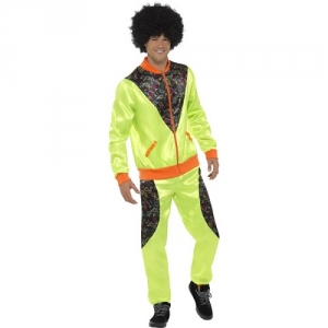 Mens 1980's Retro Fancy Dress Yellow Shell Suit 'scouser' Costume