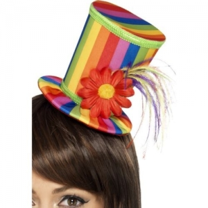 Gay pride/ carnival fancy dress multi-coloured mini top hat