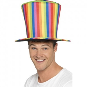 Gay pride/ carnival fancy dress multi-coloured Long Top hat