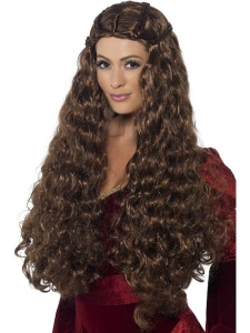 Ladies Long Brown Medieval Maiden Princess Wig Fancy Dress Accessory