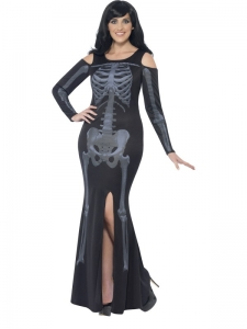 Ladies Halloween curves skeleton dress