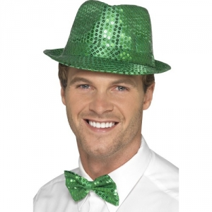 St Patricks Day Irish Green Sequin Trilby Fancy Dress Top Hat