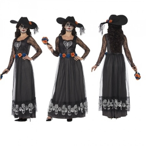 Day of the Dead Skeleton Bride Ladies Halloween Fancy Dress Costume Smiffys