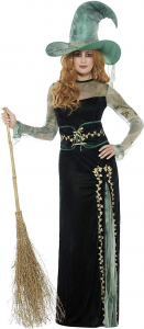 Ladies Emerald Green Halloween Witch Fancy Dress Costume