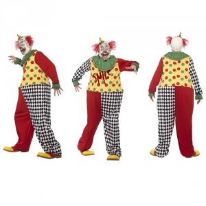 Mens Sinister Clown Halloween Scary Fancy Dress Costume Smiffys