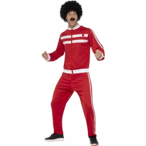 Mens 1980's Red Scouser Tracksuit Fancy Dress Costume
