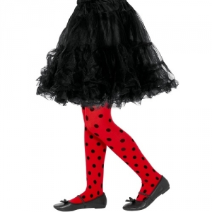 Ladybird Black And Red Tights Spotty Fancy Dress Girls Tights 8-12 yrs