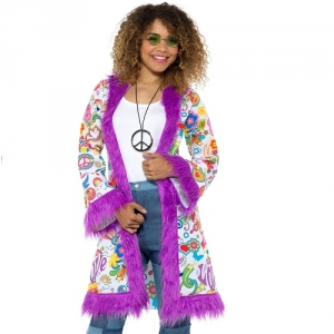 Ladies 60s Groovy Hippie Coat Hippy Fancy Dress Costume