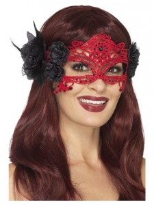 Embroidered Lace Filigree Devil Eyemask, Red & Black, with Roses