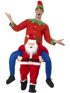 Unisex Christmas Piggy Back Santa/ Father Christmas Adult Fancy Dress Costume