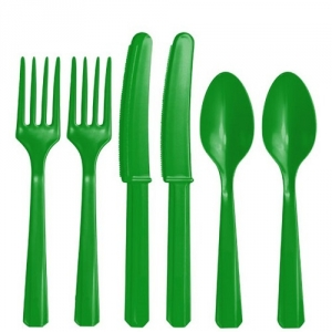 Plastic Green Cutlery Assorted Pack Of 24 Party Tableware