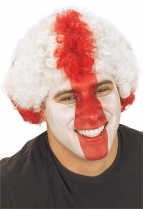 St Georges England Red And White Afro Fancy Dress Wig
