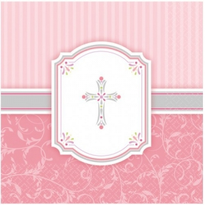 Religious Occasions Communion Blessings Pink Paper Luncheon Napkins 2ply