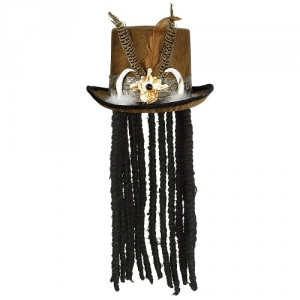 Black Velvet Top Hat with silver cross halloween Fancy dress