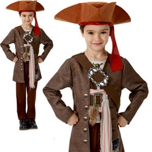 Boys Captain Jack Sparrow Pirates Of The Carribbean Deluxe Fancy Dress Costume