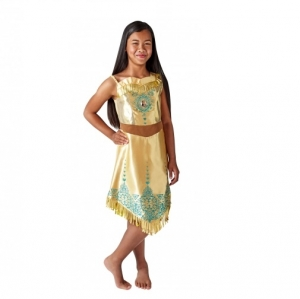 Disney Girls Pocahontas Gem Princess Deluxe Fancy Dress Costume