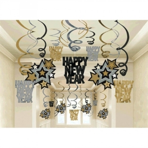 Happy New Year's Hanging Swirls Party/ Celebration Decorations