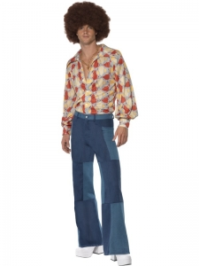 70's Mens Patchwork Flares and Shirt Set