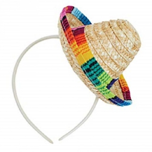 Childrens Mexican / Spanish Multi-colored Sombrero Straw Fancy Dress Hat