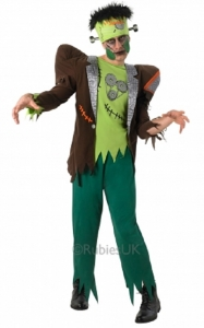 Mens Halloween Monster Green Frankenstein Fancy Dress Costume