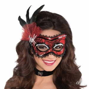 Masquerade red and black spider web style Eye Mask