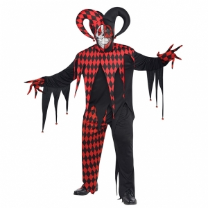 Mens adult krazed jester Halloween costume plus size