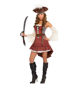 Ladies Castaway Pirate Fancy Dress Costume / Outfit