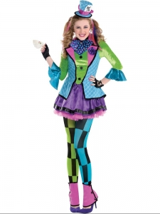 World Book Day Sassy Mad Hatter Girls Fancy Dress Costume Alice In Wonderland