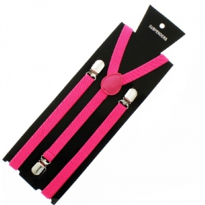 Neon Pink Fashion 1980's Fancy Dress Braces
