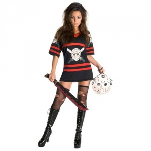 Ladies Miss Jason Voorhees Friday The 13th Fancy Dress Halloween Costume