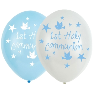 "Blue 6 pack Latex First Holy Communion 11"" Balloons"