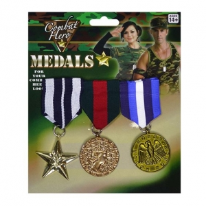 Military 3 Gold Medals Army Soldier Armed Forces Fancy Dress Costume Accessory