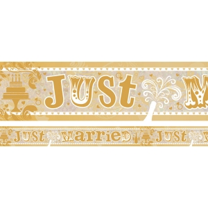 Holographic Just Married Foil Banner wedding decoration - 2.7m