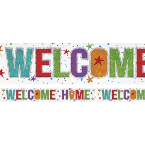 Holographic Welcome Home Foil Banner Special Occasion decoration 2.7m