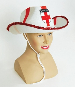 Union Jack cowboy felt st george hat fancy dress accessory