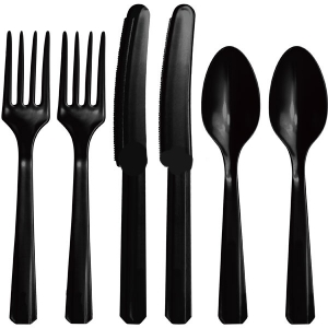 Plastic Black Cutlery Assorted Pack Of 24 Party Tableware