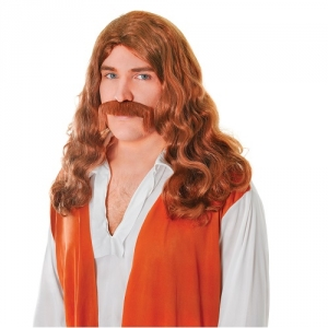 Mens 1960's Hippy Auburn Wig With Tash Fancy Dress Wig