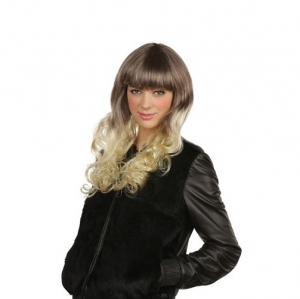 Dip Dye Ombre Brown Blonde With Fringe Fancy Dress Wig