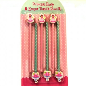 6 princess eraser toppers and pencils party bag accessory
